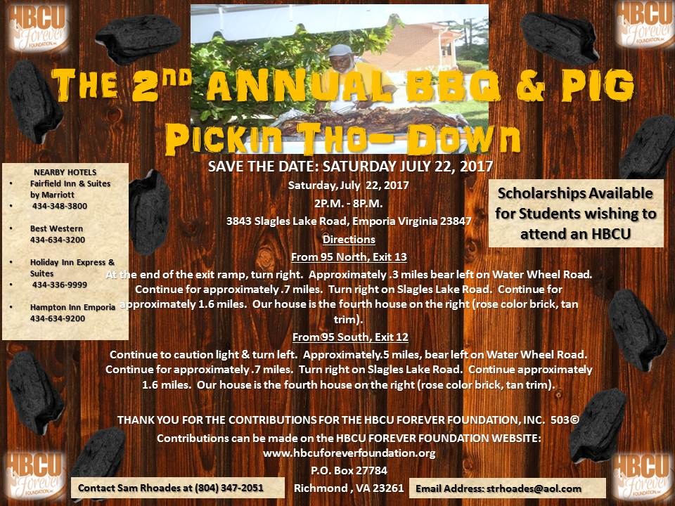 SAVE THE DATE FOR THE 2ND ANNUAL BBQ & PIG PICKIN THO-DOWN WILL BE JULY 22, 2017